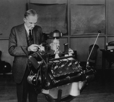 Henry Ford with V-8 Engine